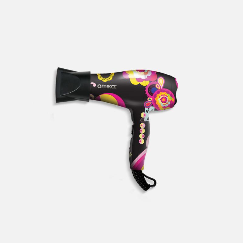 amika: mighty mini ionic hair dryer black signature print
