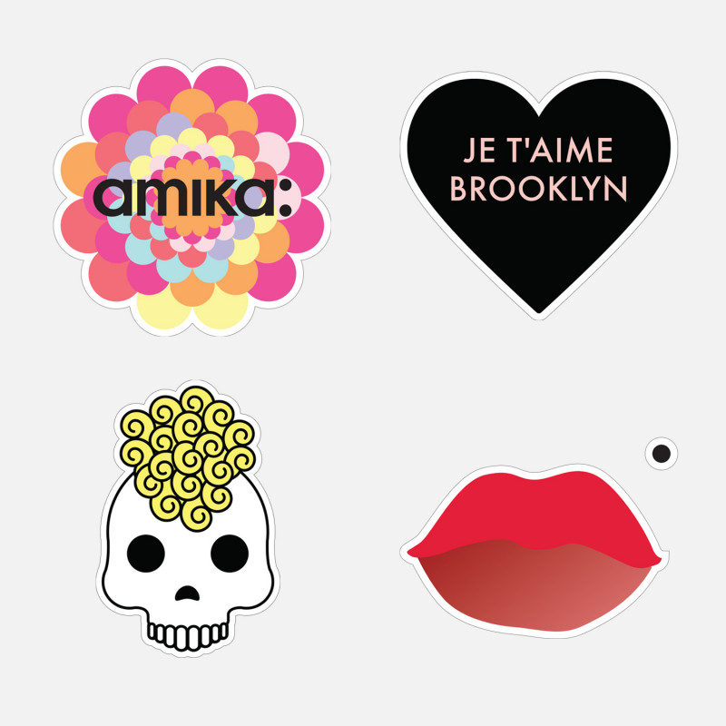 amika: mirror clings - skull, heart, flower, lip, set of 4