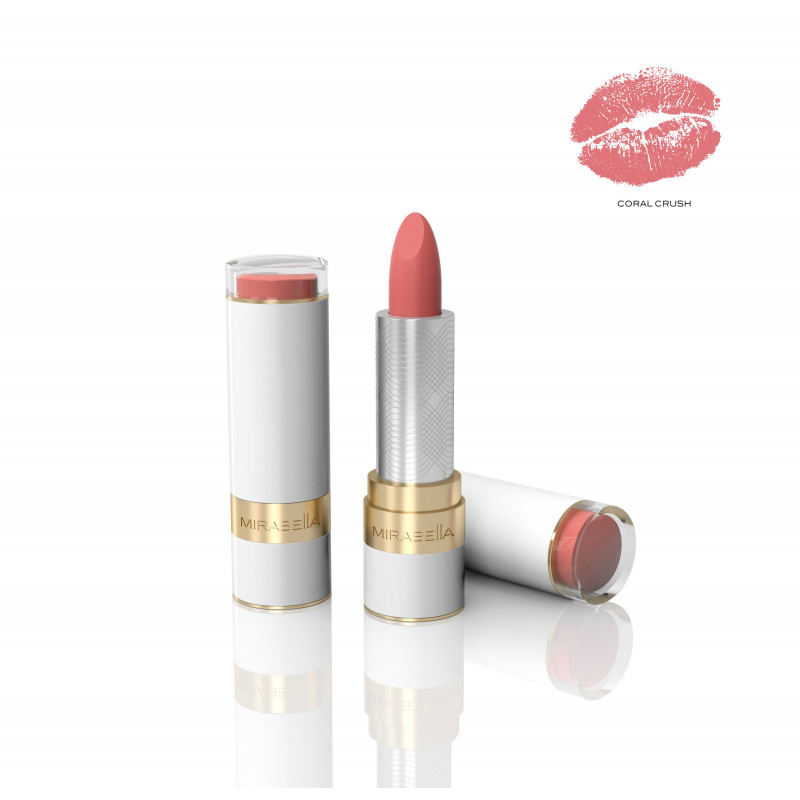mirabella sealed with a kiss lipstick coral crush