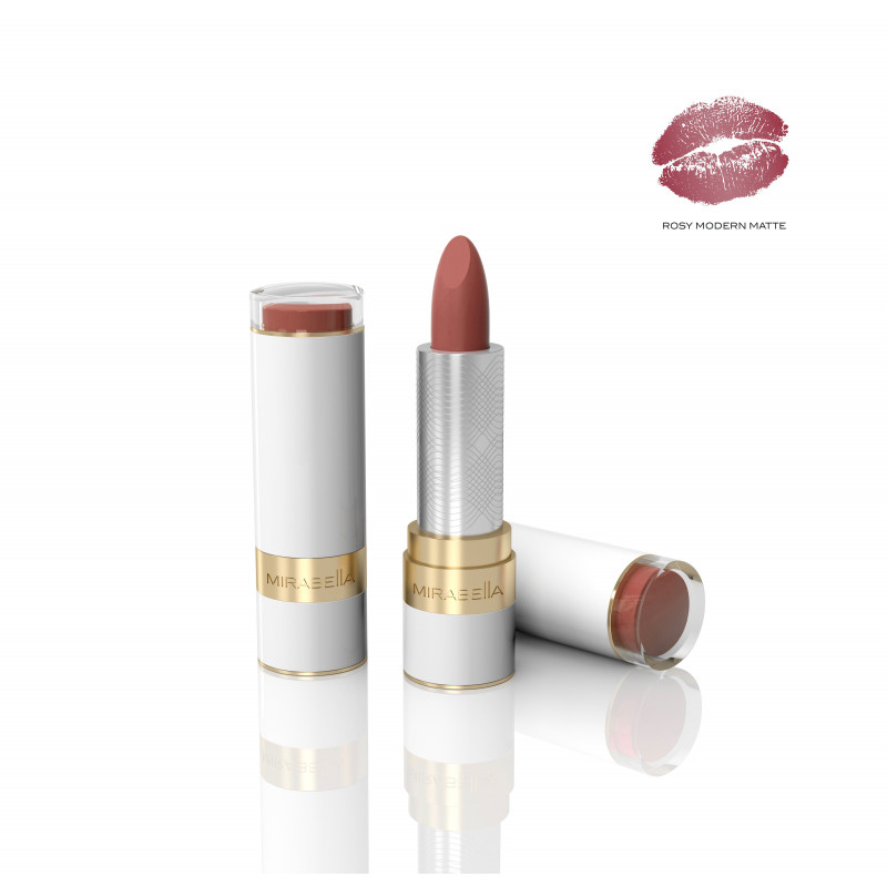 mirabella sealed with a kiss lipstick rosy modern matte