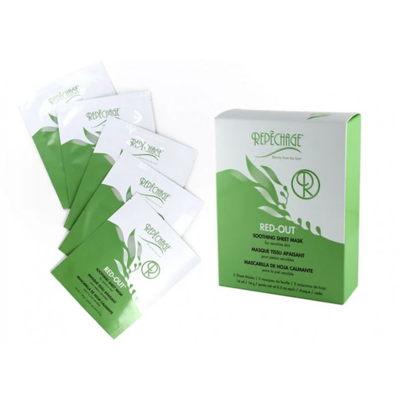 repechage red-out soothing sheet mask 5 piece