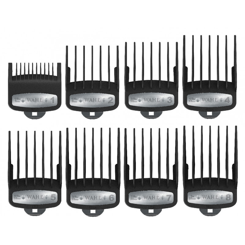 wahl premium guide comb kit #53110 organizer with 8 premium cutting guides